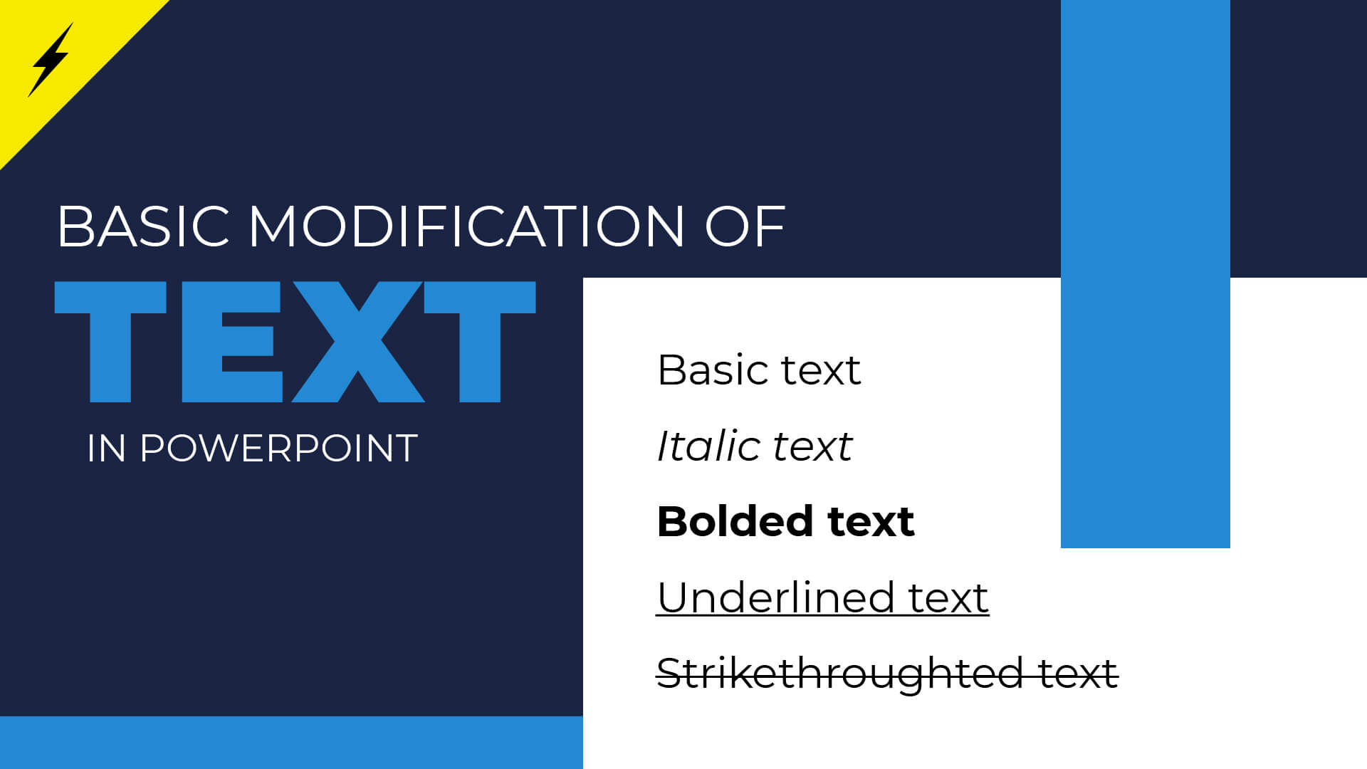 Basic text modification in PowerPoint